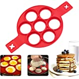 Pancake Moldes Silicona, 7 Ring Molde Formas, Molde de Frito Reutilizable Silicone Antiadherente Pancake Maker Anillo de…