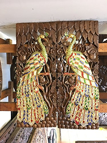 Home Decor Thai Couple of Peacock with Glass Hand Carved Wood Wall Art, Thailand Work Art By WADSUWAN SHOP. by WADSUWAN SHOP