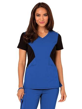 562154c8cf7 Amazon.com: Careisma by Sofia Vergara Women's Sofia V-Neck Solid Scrub Top  XXX-Large Royal with Black Contrast: Clothing