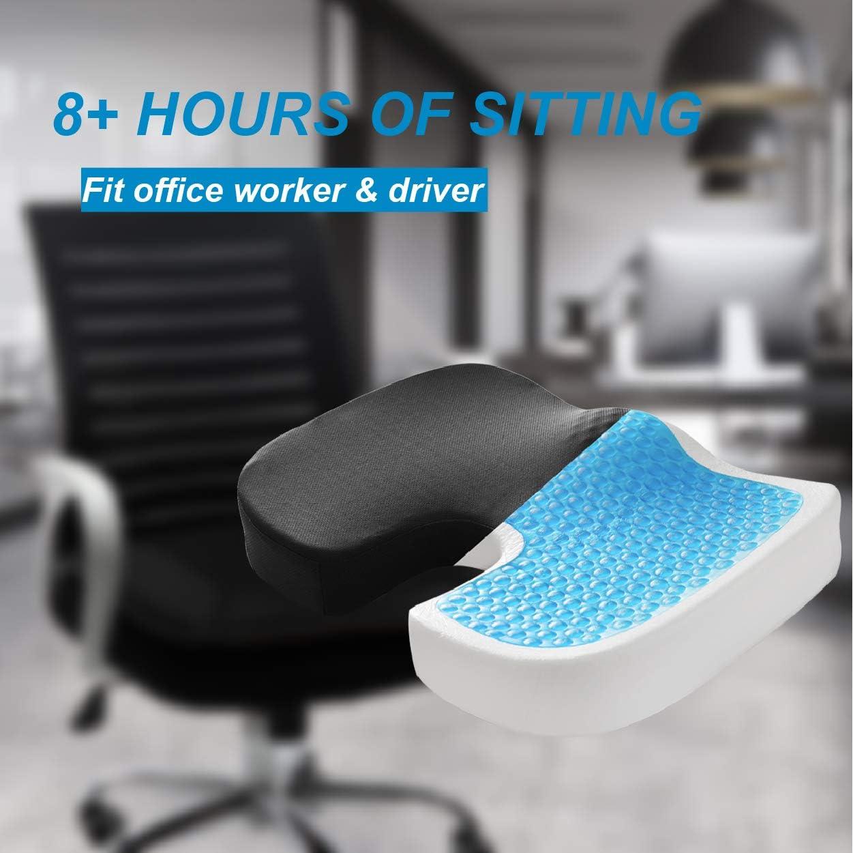 Seat Cushion, Gel Seat Cushion, Memory Foam Seat Cushion for Tailbone Pain Relief and Sciatica Pain Relief, Orthopedic Seat Cushion for Office Chair and Car.