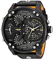 Diesel Men's Mr. Daddy 2.0 Black IP and Black Leather Chronograph Watch DZ7407