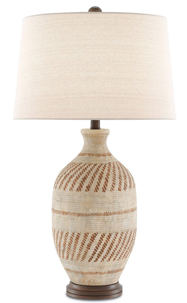 Currey and Company 6000-0088 Faiyum - One Light Table Lamp, Tan/Brown/Hand-Rubbed Bronze Finish with Flax Linen Shade