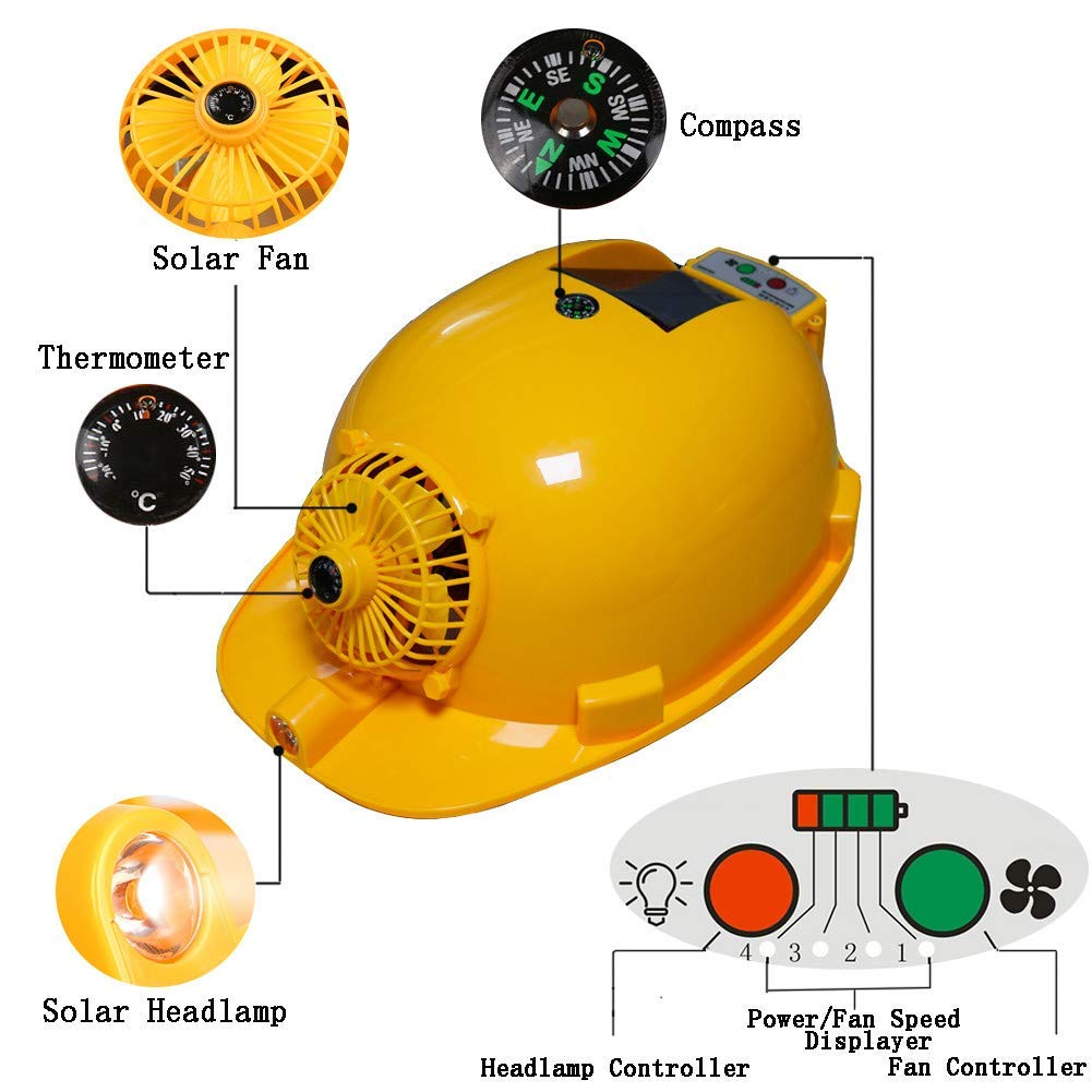 Solar Cooling Helmet Summer Solar Cooling Hard Hat with Fan and Light for Men and Women,3000mAh Built-in Battery,USB Output,Can Do Mobile Power