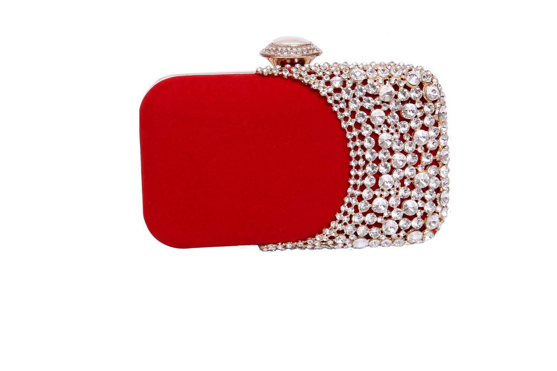Womens Rhinestone Evening Bag Bridal Clutch Purse Wedding Party Cocktail Handbag (Red)