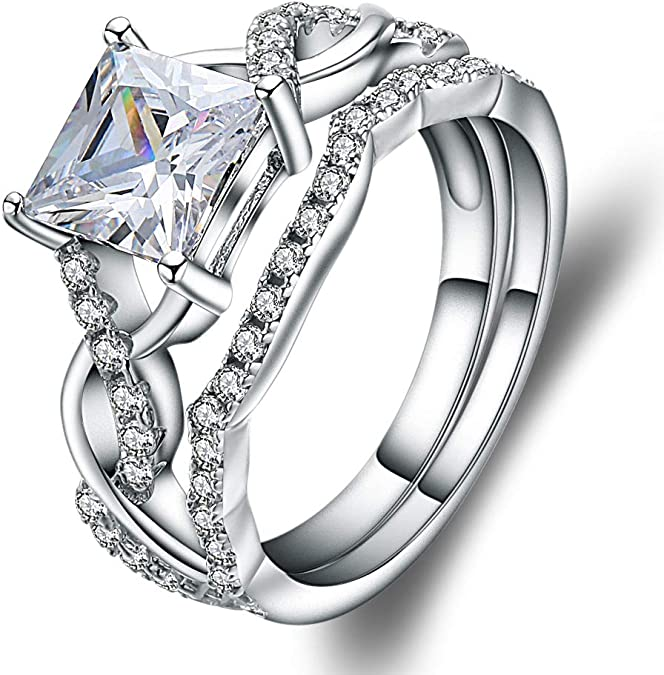 Sterling Silver mystic stone ring band radiant cut rectangle solitaire w diamond alternative cz 9.55 mm wide size 9.25 womens fine jewelry