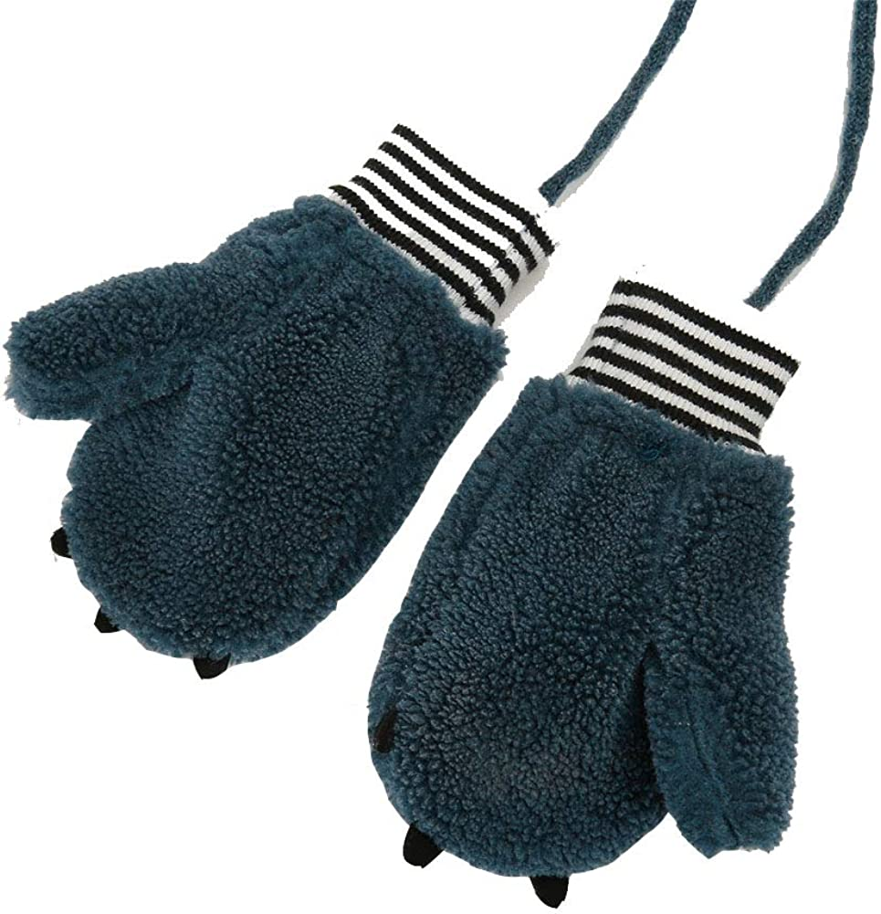 Toddler Boys Girls Dinosaur Winter Warm Knit Mittens with String Kids Baby Soft Thick Fleece Lined Gloves
