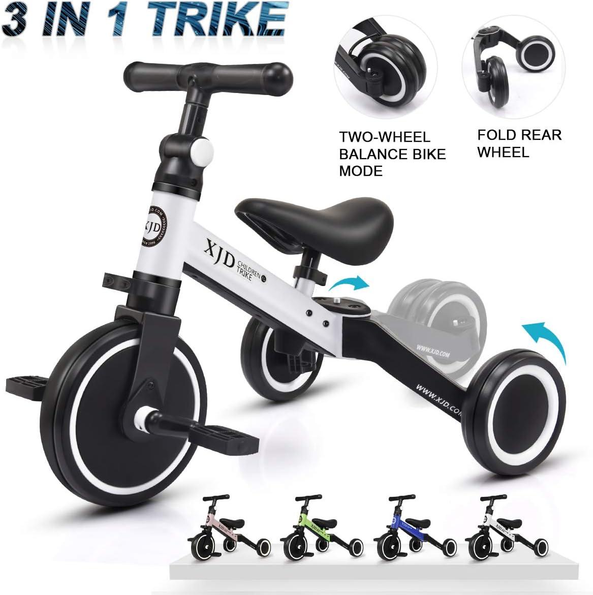 XJD 3 en 1 Triciclo para Niños con Pedales Ligero y Plegable Triciclo Bicicleta para Niño y Niña de 2 a 4 años con CE Certificación con Bolsa de Transporte (Blanco)