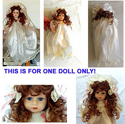 Antique Vintage Collectible 14 Inch China OR Porcelain Doll in Fancy Dress - Very RARE - Realistic Hair and Eyelashes, Long Dress, Lace, Shoes, Bonnett