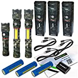 3 Pack Nebo Slyde King 330 Lumen USB rechargeable LED flashlight/Worklight CAMO 6643, rechargeable Li-ion battery with EdisonBright USB charger bundle