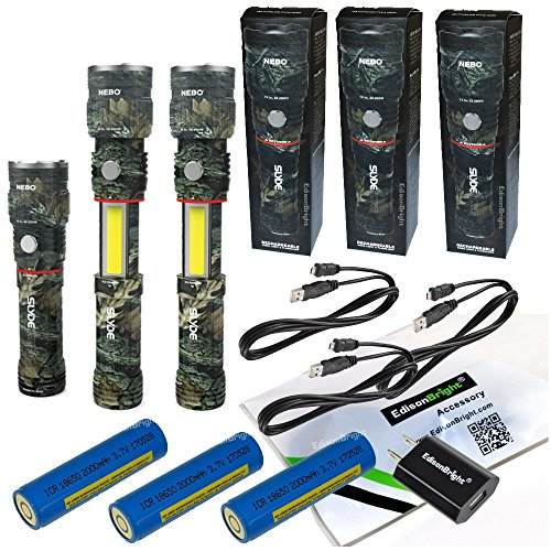 3 Pack Nebo Slyde King 330 Lumen USB rechargeable LED flashlight/Worklight CAMO 6643, rechargeable Li-ion battery with EdisonBright USB charger bundle by EdisonBright