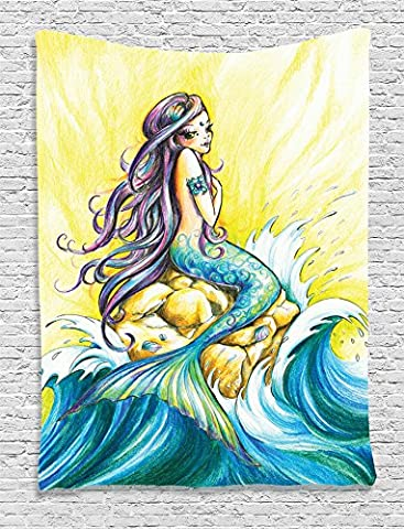 Mermaid Decor by Ambesonne, Mermaid Sitting on Rock Sunny Day Design and Pencil Drawing Effect, Bedroom Living Kids Girls Room Dorm Accessories Wall Hanging Tapestry, Blue Yellow Purple - Sitting Girl