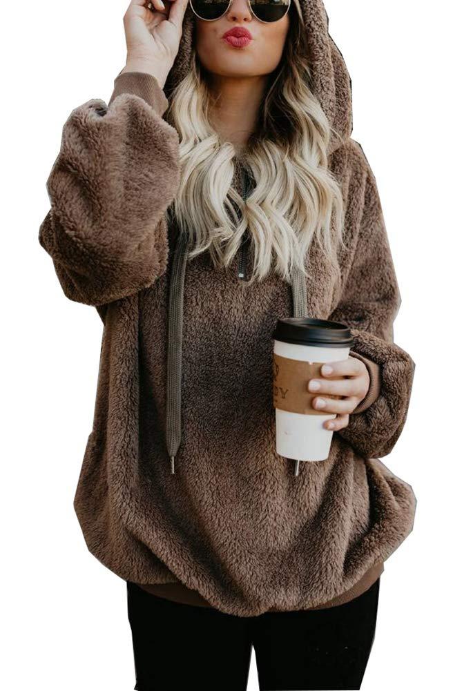 WearFun Womens Sweatshirt Casual Hoodie - Long Sleeve 1/4 Zip Sweatshirt Fleece Pullover Outwear Coat with Pockets