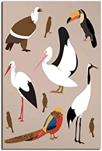 Hitecera Flying Birds,Wall Art for Bedroom,of Various Wild Animals Pelican Crane,Wall Art Decor for Bedroom,8''x12''