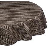 Trendex Home Designs Zania Round Tablecloth, 70-Inch, Black
