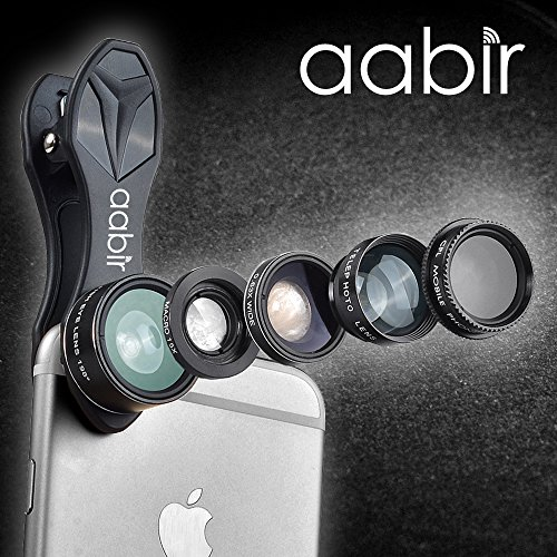 Ike & Allie Aabir Universal - 5 in 1 HD Cell Phone Camera Lens Kit Clip On - Fish Eye Lens + Wide Angle Lens + Telephoto Lens + CPL Universal Clip Phone Camera Lens for Smartphone, iPhone
