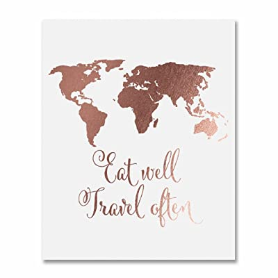 Eat Well Travel Often Rose Gold Foil Print Poster Inspirational Wall Art Quote Decor 8 inches x 10 inches E22