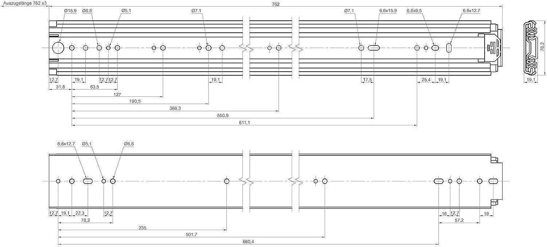 1 Paire Extensions pour Charge Lourde KV250H76 457 mm 18 Capacit/é de Charge jusqu/à 250 Kg Glissi/ère T/élescopique Glissi/ère Sortie Totale de JUNKER