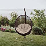 Modway EEI-739-BEI-SET Encase Wicker Rattan Outdoor Patio Balcony Porch Lounge Egg Swing Chair Set with Stand Beige
