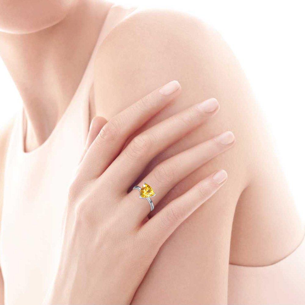 BONLAVIE Women's Fine Sterling Silver Jewelry Created Yellow Citrine Simple Engagement Ring Size 9 by BONLAVIE (Image #5)