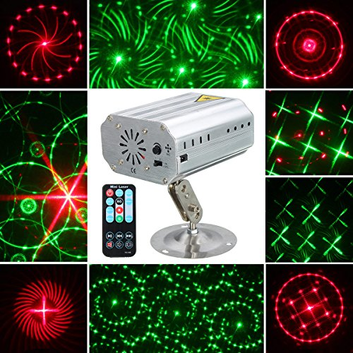 Jeteven Stage Laser Lights 12 Patterns LED Party Projector Spotlight with Wireless Remote Control Auto/Sound Activated for Disco DJ Clubs Bar Stage KTV (Gimbal Spotlight)