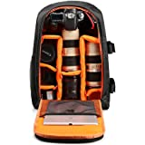 Mochila de Cámara Bolsa de Cámara Al Aire Libre Bolsa de Fotografía para DSLR SLR, Ordenadores Portátiles, Trípode y Accesorios (naranja)