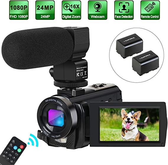 Camcorder Video Camera Digital YouTube Vlogging Camera HD 1080P 30FPS 24MP 16X Digital Zoom 3 Inch LCD Flip Screen Video Recorder with Microphone and Remote Control