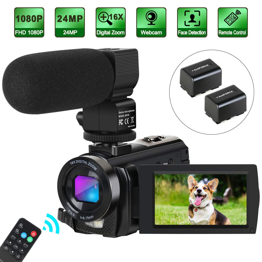 Camcorder Video Camera Digital YouTube Vlogging Camera HD 1080P 30FPS 24MP 16X Digital Zoom 3 Inch LCD Flip Screen Video Recorder with Microphone and Remote Control, 2 Batteries by Aabeloy