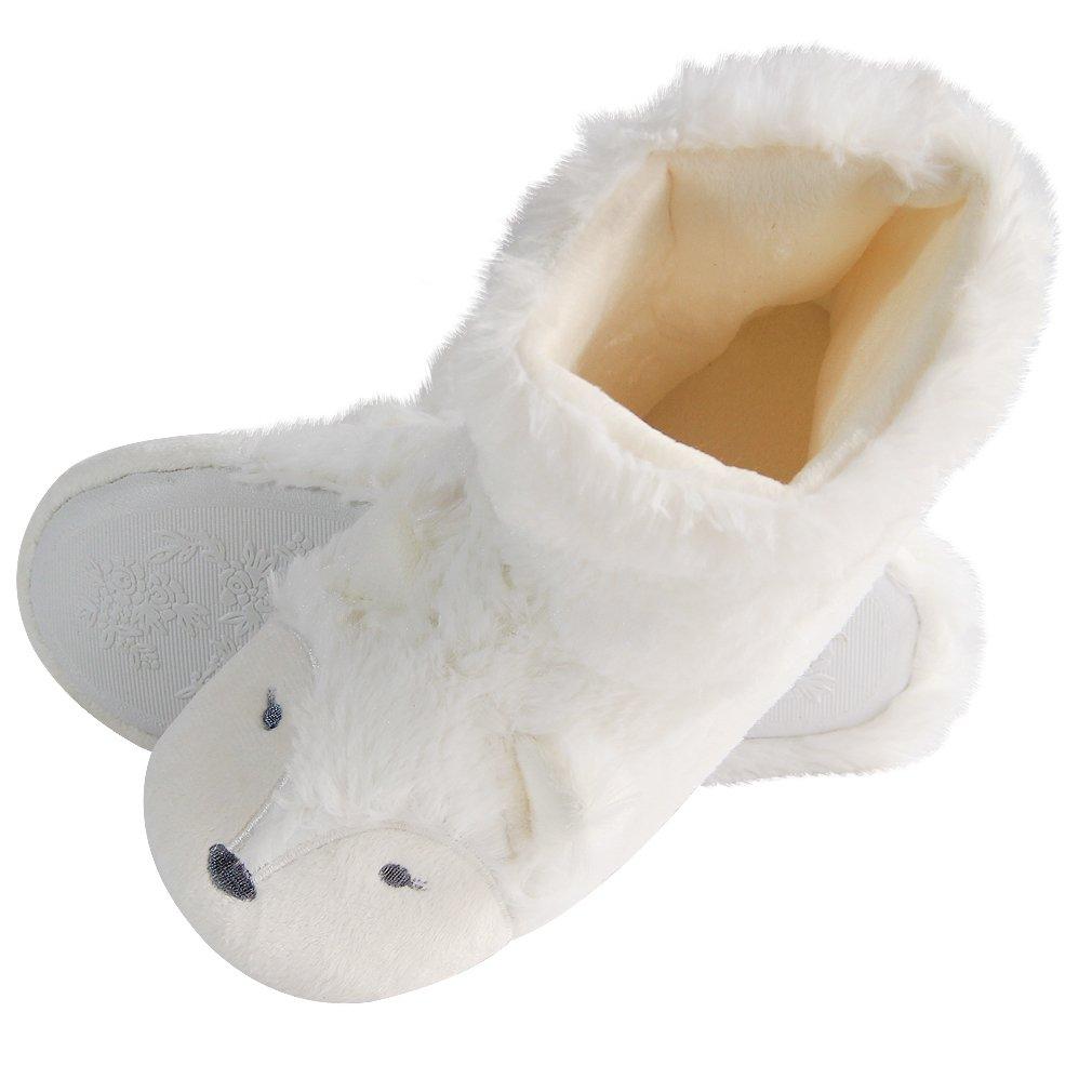 Fox Fleece Bootie Slippers | Wool Plush Indoor/Outdoor Slippers | Furry Winter Boot Home Slippers | Womens Anti-Slip Bootie (6.5-7, White Boot)