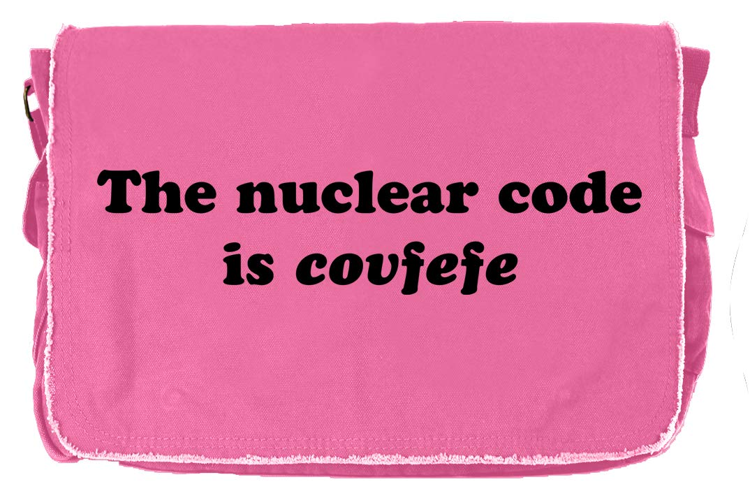 Tenacitee The Nuclear Code is Covfefe Flamingo Raw Edge Canvas Messenger Bag