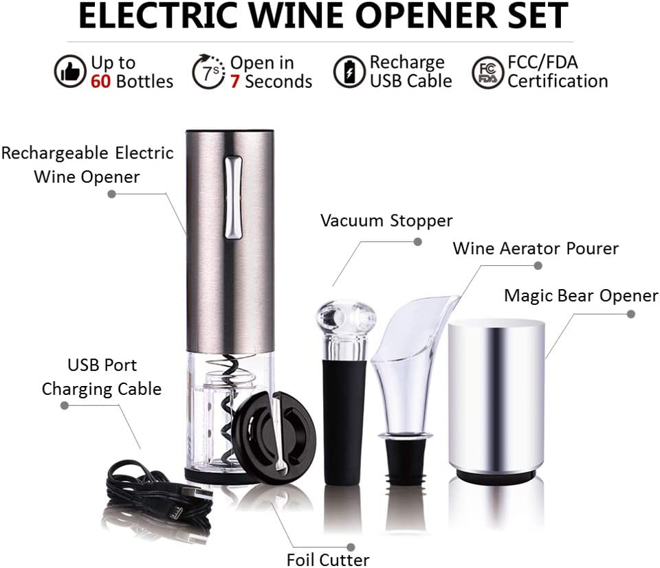 Electric Wine Opener Set,Cordless Wine Bottle Opener Electric Corkscrew, 6PCS Opener Set Includes Automatic Wine Opener ,Automatic Beer Bottle Opener,Foil Cutter, Vacuum Stopper, Wine Aerator Pourer and USB Charging Cable