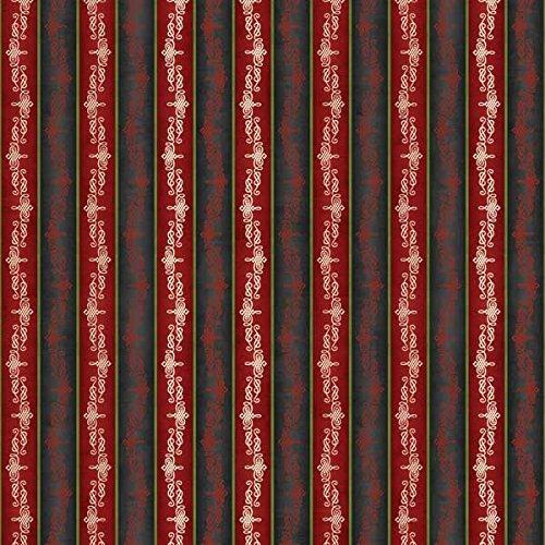Blooms Stripe - Wilmington Prints Christmas in Bloom Red and Black Stripe