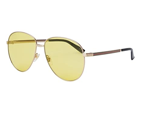00d1d8cc42f1 Image Unavailable. Image not available for. Color: GUCCI WEB 0138 Gold  Yellow Unisex Metal Aviator Sunglasses ...