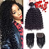 virgin brazilian hair 3 bundles - Amella Hair 10A Brazilian Virgin Curly Hair Weave 3 Bundles with Lace Closure Free Part 4x4 100% Unprocessed Brazilian Kinky Curly Hair Weave Bundles Natural Color(16 18 20+14inch)