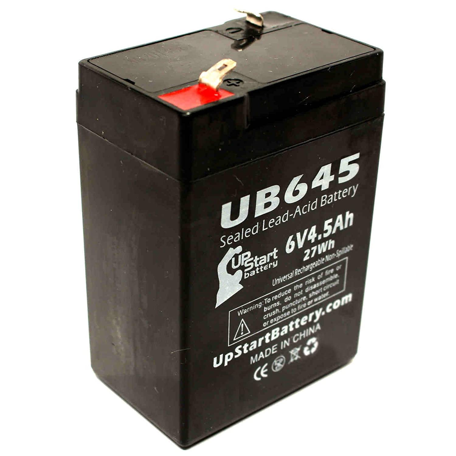 Diamec DM64 Battery - Replacement UB645 Universal Sealed Lead Acid Battery (6V, 4.5Ah, 4500mAh, F1 Terminal, AGM, SLA) - Includes TWO F1 to F2 Terminal Adapters Upstart Battery UB645-DL147