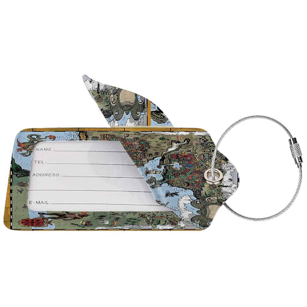 Multicolor luggage tag Compass Decor Collection Compass Rose with Metal Arrow on Vintage Grungy Background Travel Navigation Art Hanging on the suitcase Olive Blue W2.7 x L4.6