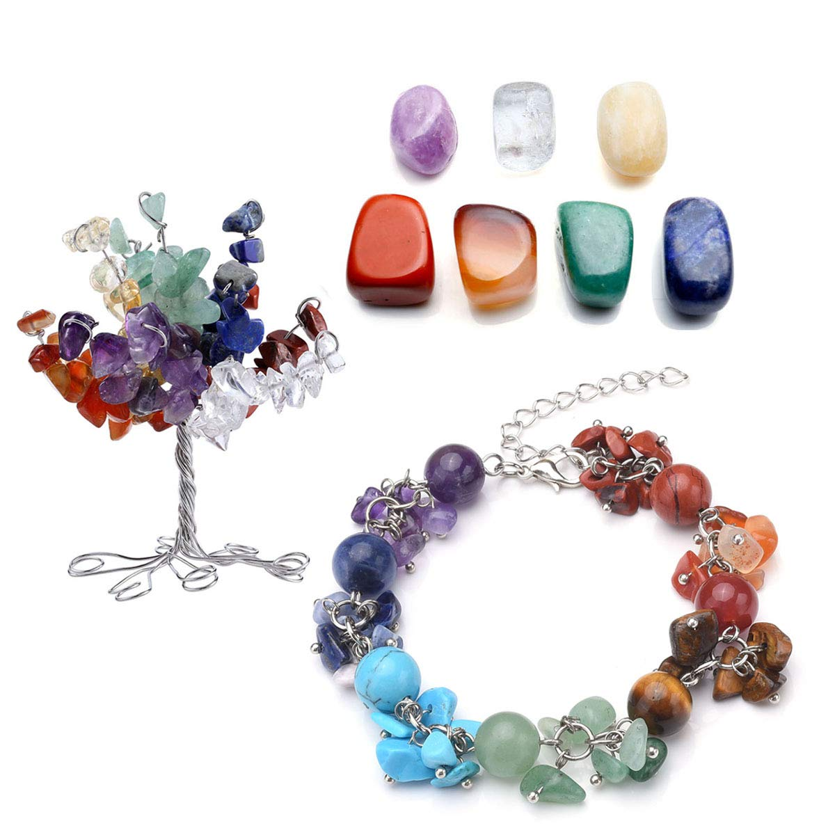 CrystalTears 7 Chakra Gems Set,Money Tree & Irregular Chakra Stones & 7 Chakra Brarcelet Lotus Pendant Reiki Healing Crystal Feng Shui Spiritual Decor Ornaments (7 Chakra-Chips Stones)