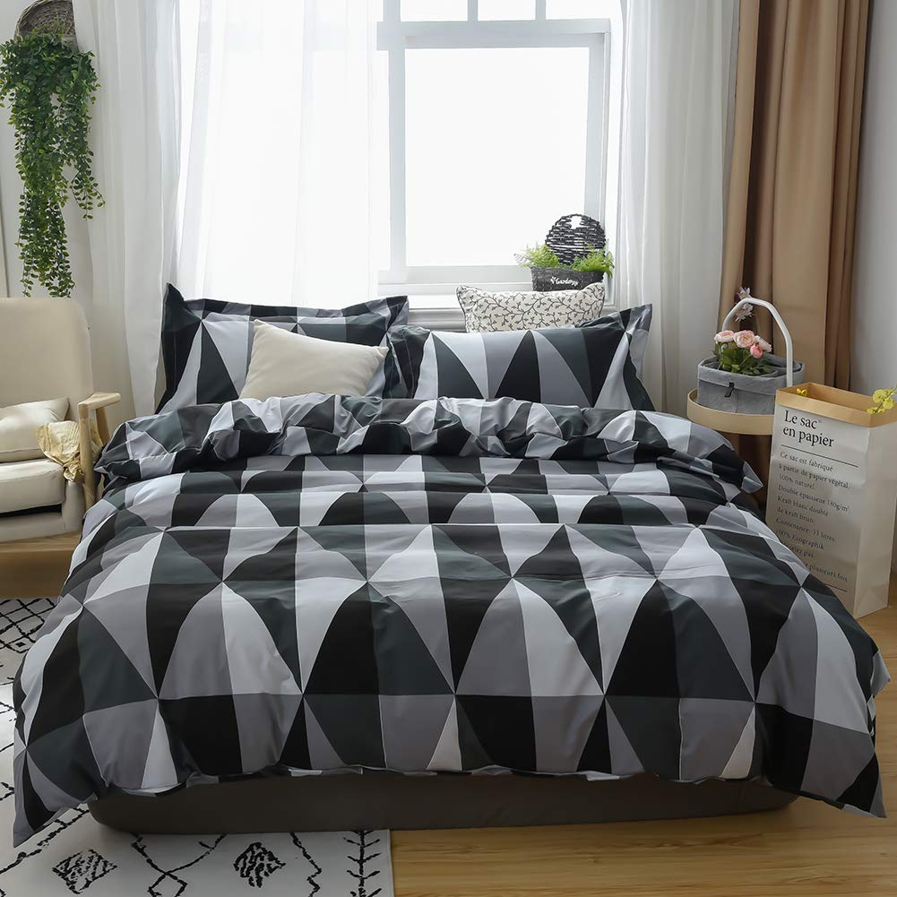 MH MYLUNE HOME Duvet Cover 3 Pieces Set - Ultra Soft Double Brushed Printed Microfiber Comforter Cover with 2 Pillow Case