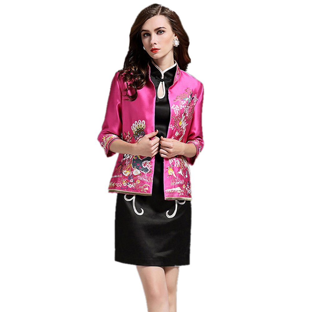 Icegrey Women\'s Flower Bird Embroidery Chinese Jacket Tang Coats Rose Red 3XL ICG-MY-9113-1-3XL