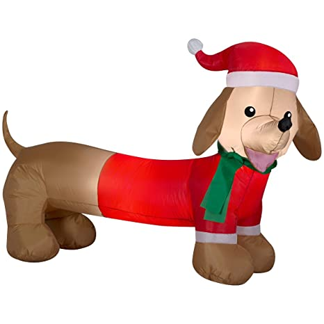 dachshund weiner dog air blown inflatable outdoor christmas holiday decoration 4 feet wide - Christmas Dachshund