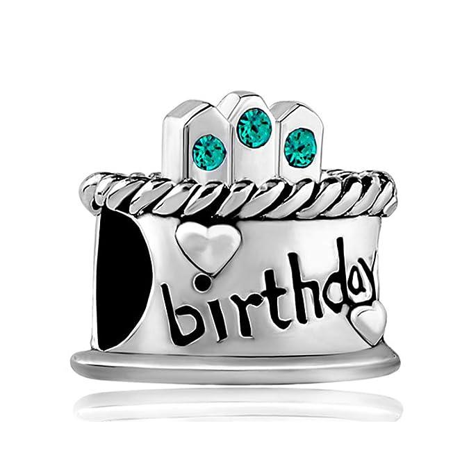 Korliya Happy Birthday Cake Charm Birthstone Bead For Bracelet t12JmVe6