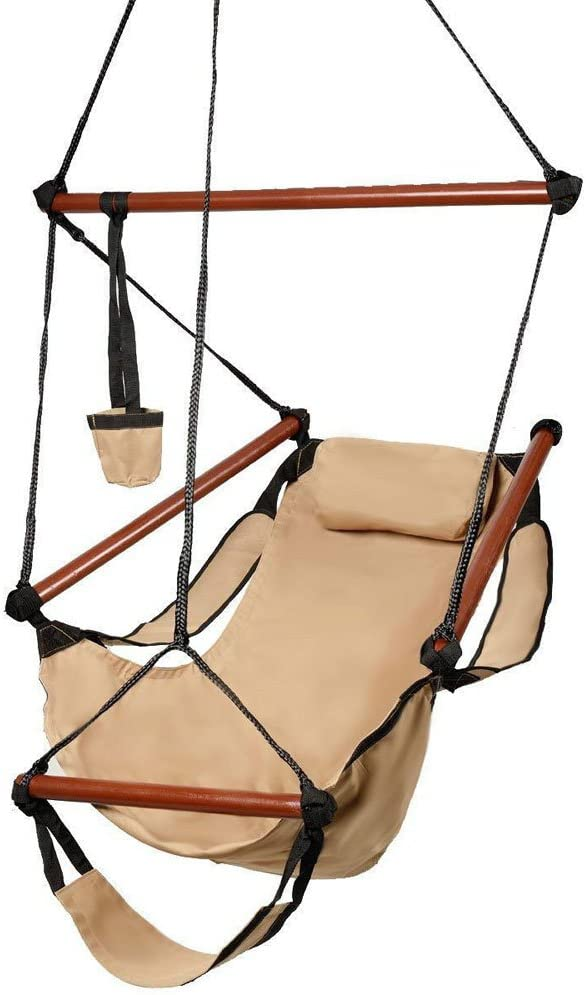 Kuyal Hanging Hammock Chair Deluxe Swing Outdoor Chair W Pillow and Drink Holder for Backyard, Bedroom, Porch, Outdoor Camping Well-Equipped S-Shaped Hook Tan