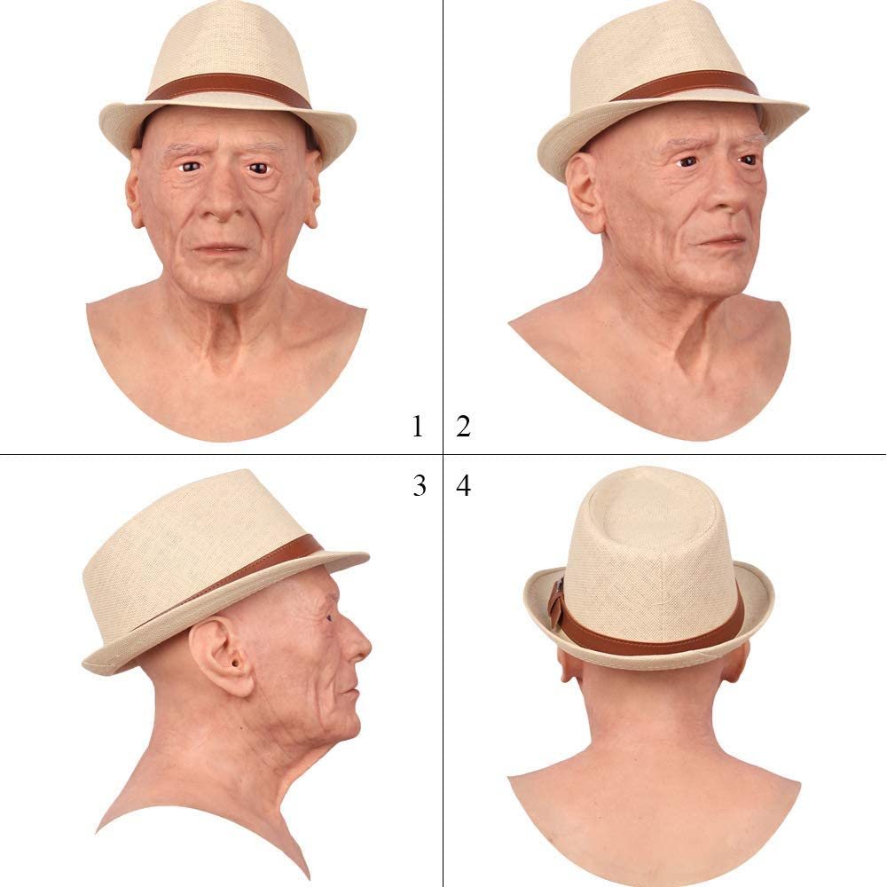 Silicone Headwear Old Man Halloween Hand Made Realistic High Quality Cosplay