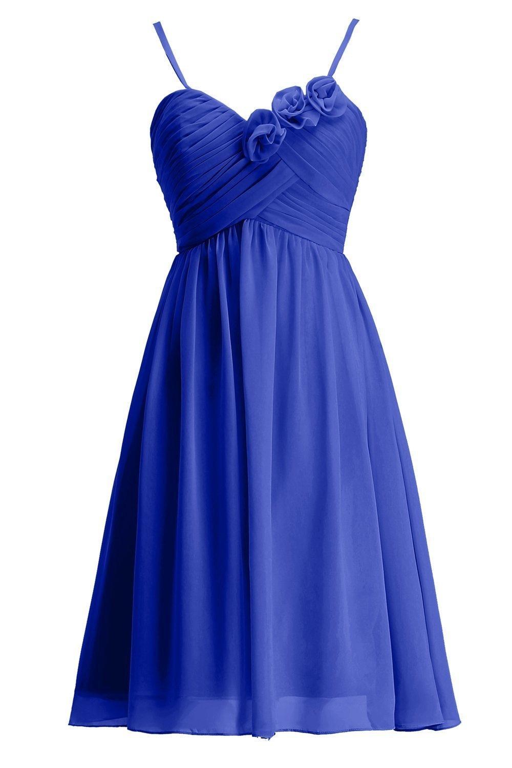 Miranda's Bridal Women's Spaghetti Strap Pleated Chiffon Short Mini Bridesmaid Dress Royal Blue US6