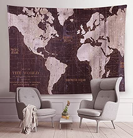 Amazon all smiles vintage world map tapestry wall hanging globe all smiles vintage world map tapestry wall hanging globe large taprstries watercolor painting art painting home gumiabroncs Image collections