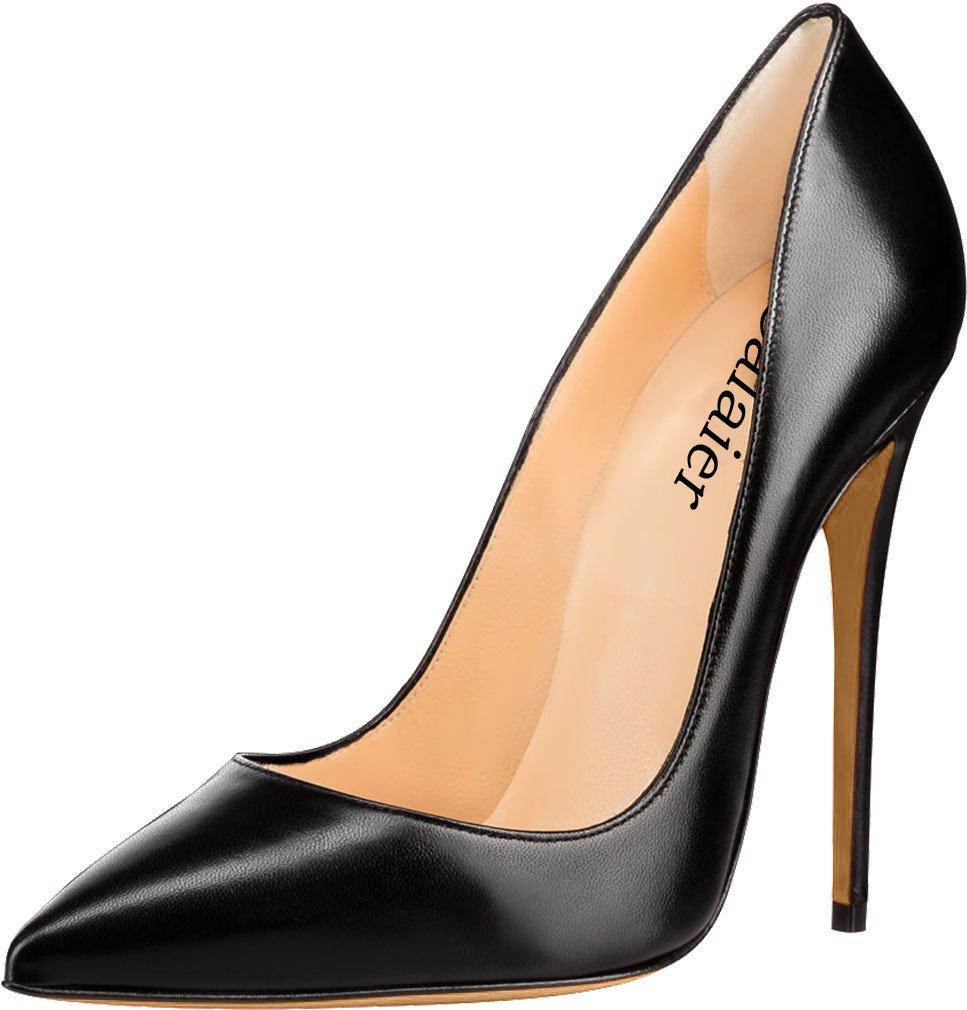 Calaier Mujer Cahen Tacón De Aguja 12CM Sintético Ponerse Zapatos de Tacón 41.5 EU|Negro