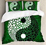 Ying Yang Twin Duvet Cover Sets 4 Piece Bedding Set Bedspread with 2 Pillow Sham, Flat Sheet for Adult/Kids/Teens, Digital Style Yin Yang Symbol Form Nature Zen Themed Meditation Dots Print
