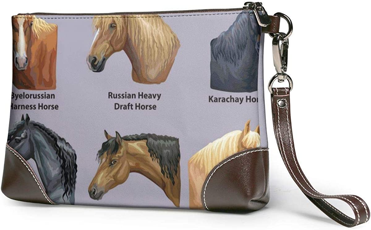 EDFG Conjunto de retratos de razas de caballos Cartera cuadrada grande de cuero real para mujer Cartera para teléfono móvil Bolso de mano