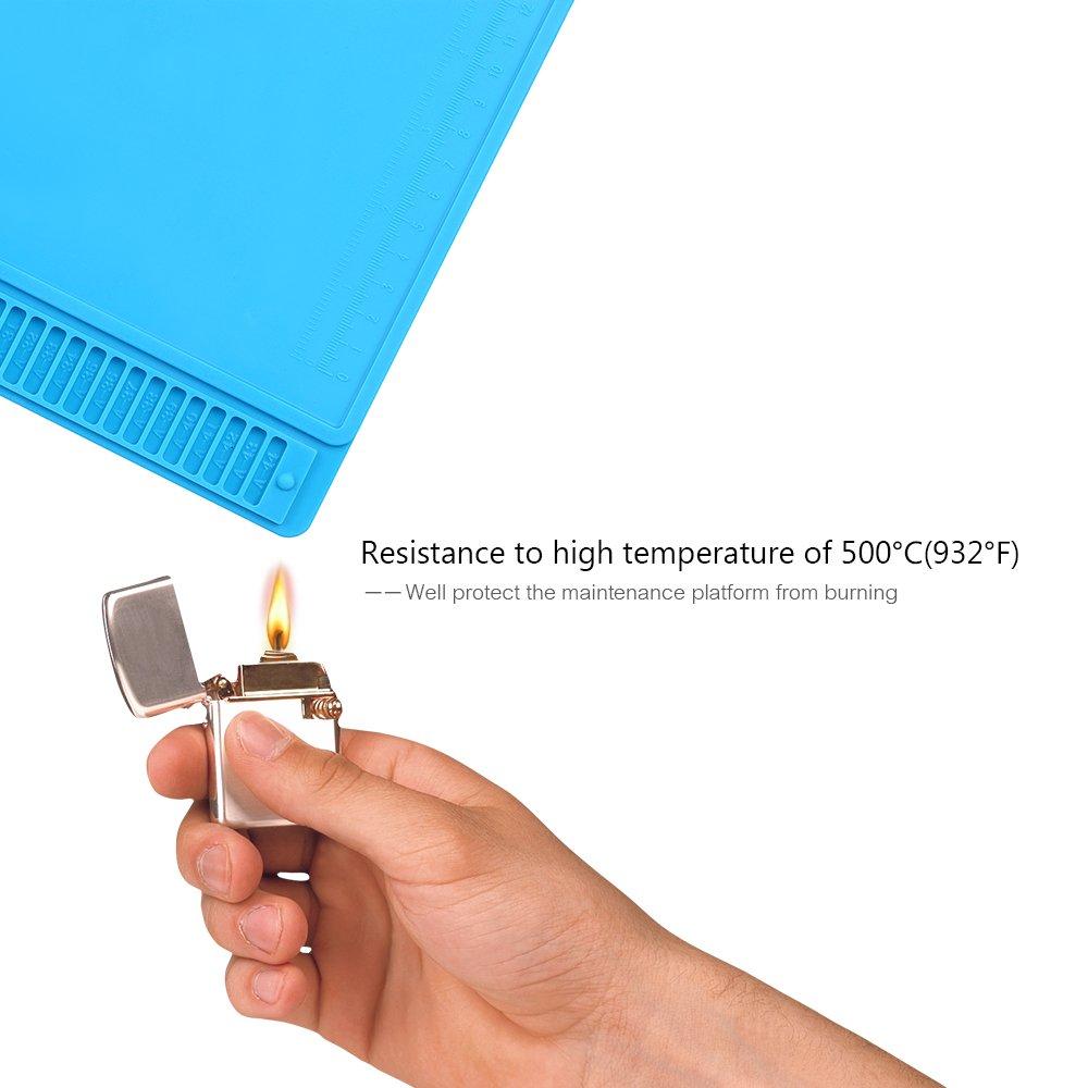 KKmoon Tapis dIsolation Thermique BGA pour la R/éparation de Soudure Plateforme de Maintenance R/ésistance /à Hautes Temp/ératures avec les Encoches Vis Magn/étiques R/ègle