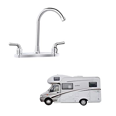 "RV Non-metallic Kitchen Faucet Two Handle-8"" Main Body-High Arch-360 Swivel Replace For Motorhomes, Travel Trailers, Campers (8""HIGH ARCH)"