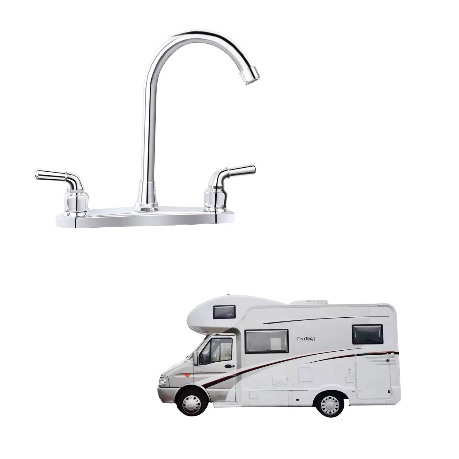 RV Non-metallic Kitchen Faucet Two Handle-High Arch-8''-360 Swivel Replace For Motorhomes, Travel Trailers,Campers (8''HIGH ARCH)